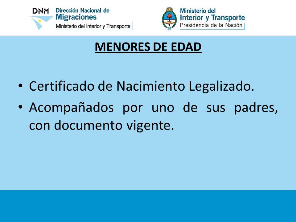 Certificado de Nacimiento Legalizado.