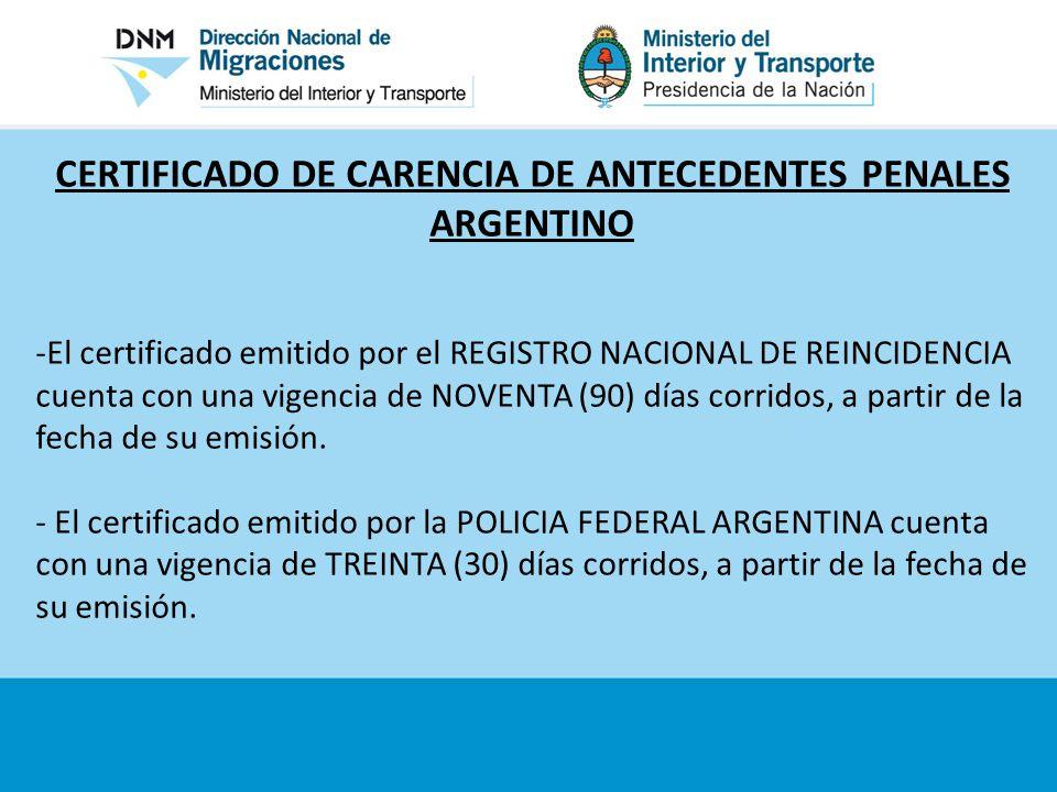 CERTIFICADO DE CARENCIA DE ANTECEDENTES PENALES ARGENTINO
