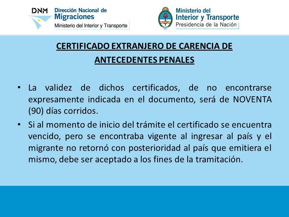 CERTIFICADO EXTRANJERO DE CARENCIA DE