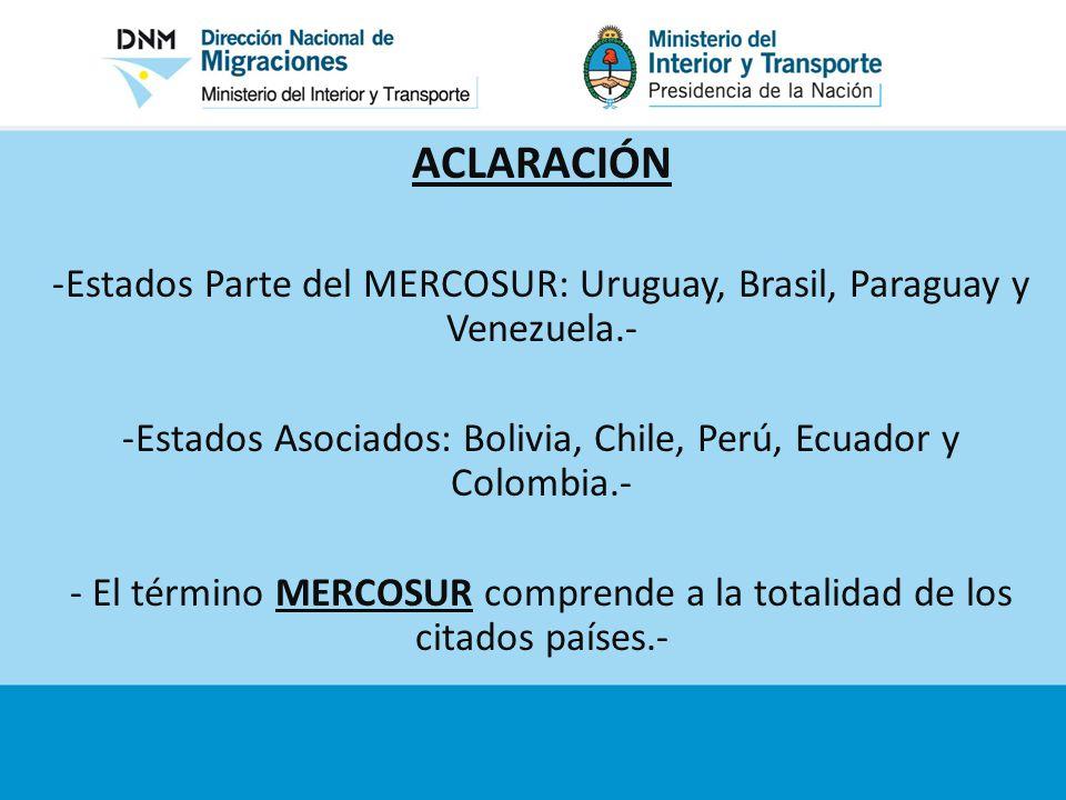 ACLARACIÓN Estados Parte del MERCOSUR: Uruguay, Brasil, Paraguay y Venezuela.- Estados Asociados: Bolivia, Chile, Perú, Ecuador y Colombia.-
