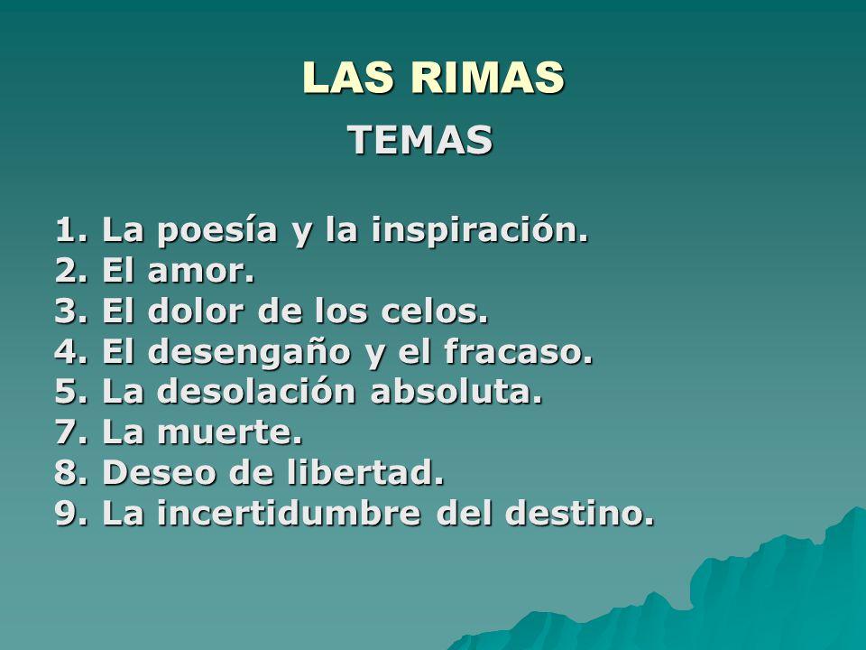 LAS RIMAS TEMAS 1. La poesía y la inspiración. 2. El amor.