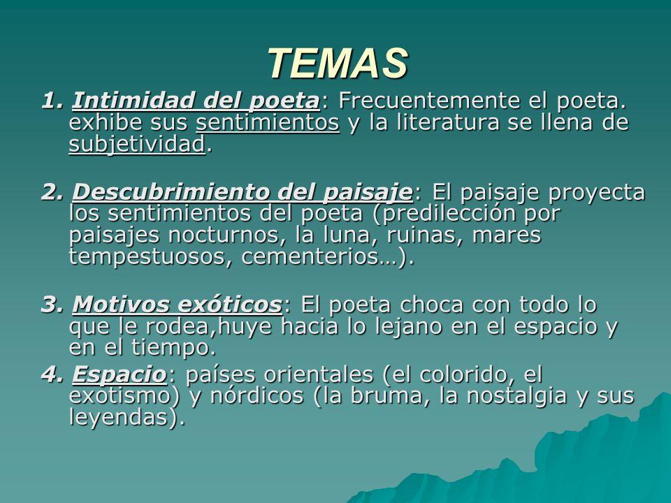 TEMAS 1. Intimidad del poeta: Frecuentemente el poeta. exhibe sus sentimientos y la literatura se llena de subjetividad.
