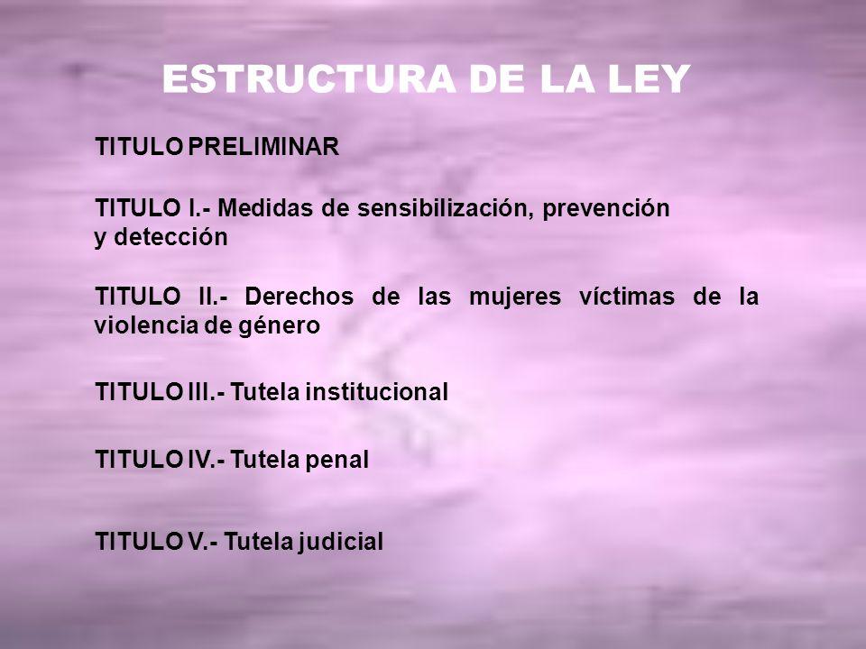 ESTRUCTURA DE LA LEY TITULO PRELIMINAR
