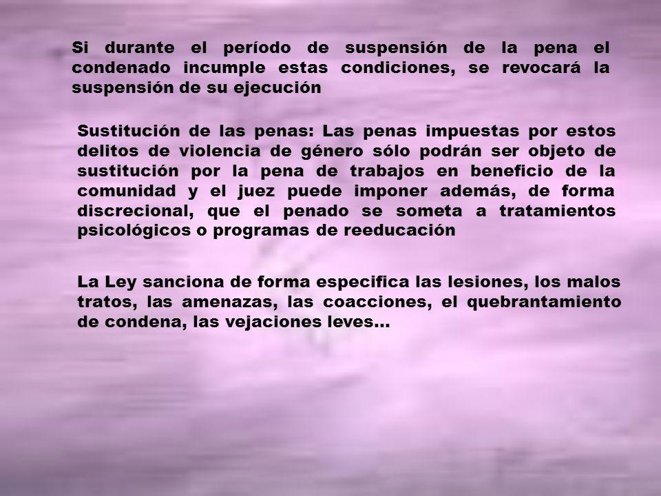 Si durante el período de suspensión de la pena el condenado incumple estas condiciones, se revocará la suspensión de su ejecución