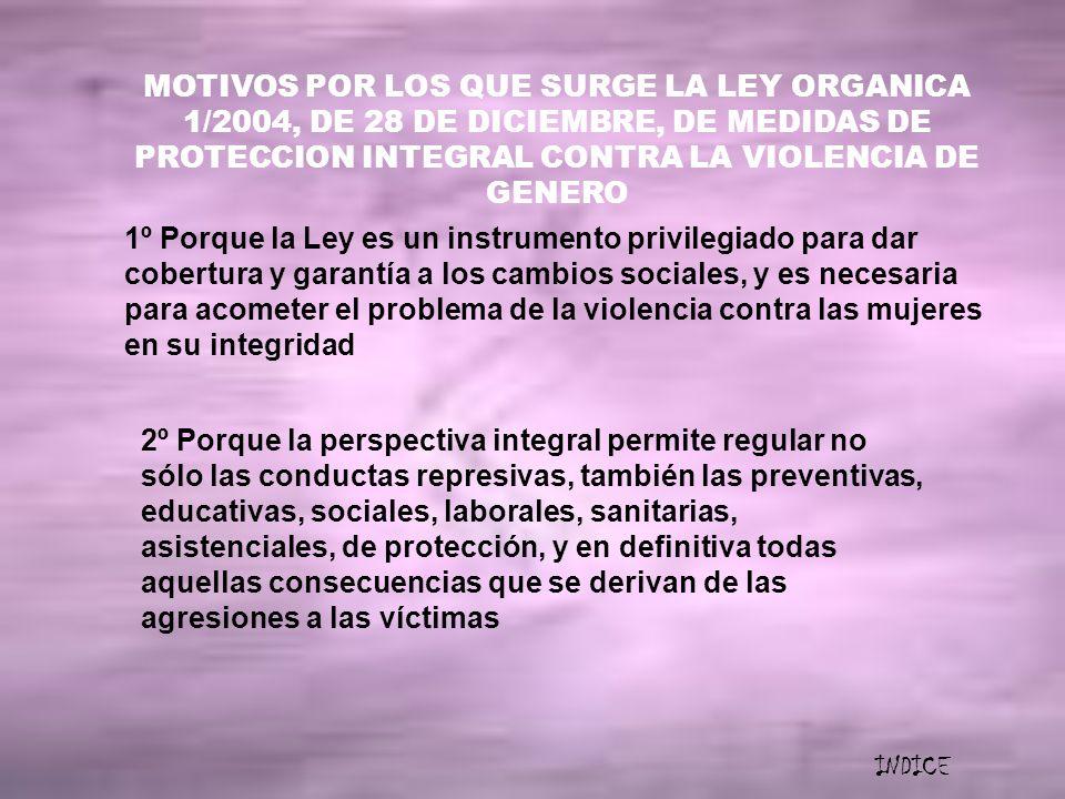 MOTIVOS POR LOS QUE SURGE LA LEY ORGANICA 1/2004, DE 28 DE DICIEMBRE, DE MEDIDAS DE PROTECCION INTEGRAL CONTRA LA VIOLENCIA DE GENERO