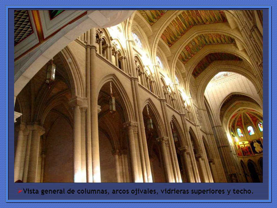 Vista general de columnas, arcos ojivales, vidrieras superiores y techo.
