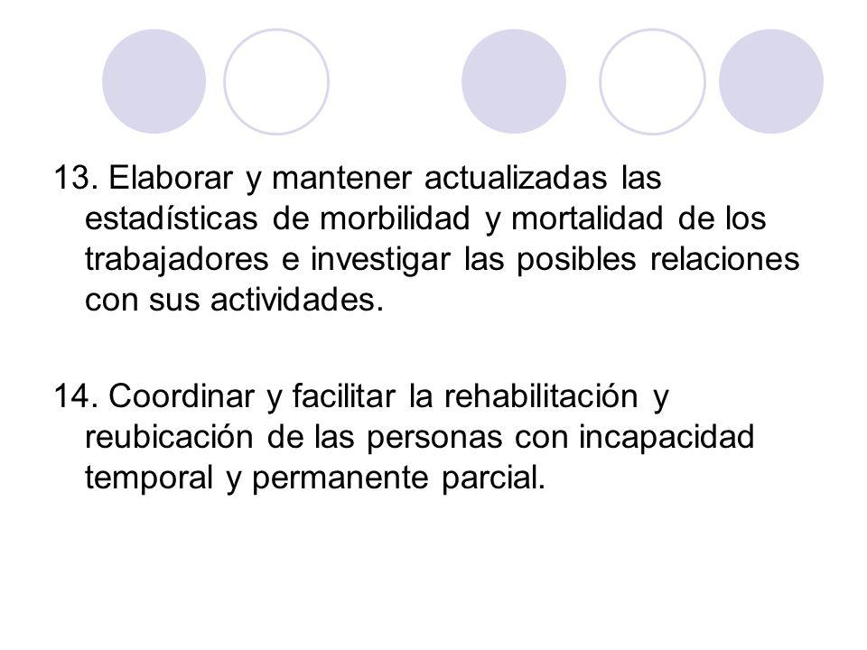 13. Elaborar y mantener actualizadas las estadísticas de morbilidad y mortalidad de los trabajadores e investigar las posibles relaciones con sus actividades.