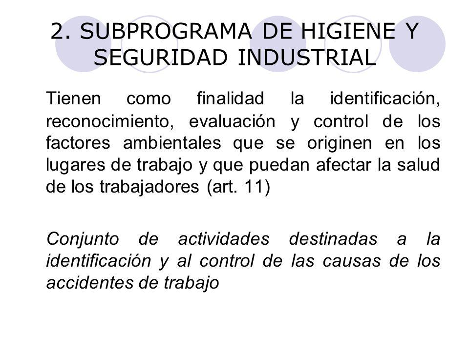 2. SUBPROGRAMA DE HIGIENE Y SEGURIDAD INDUSTRIAL