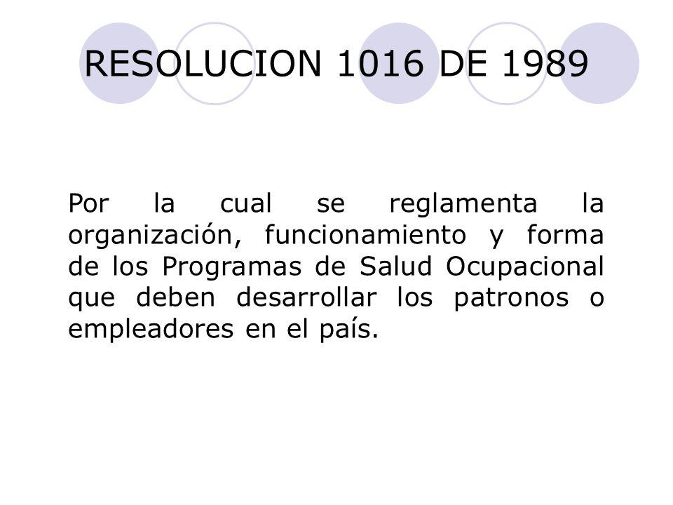 RESOLUCION 1016 DE 1989
