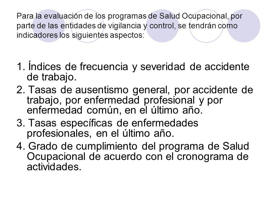 1. Índices de frecuencia y severidad de accidente de trabajo.