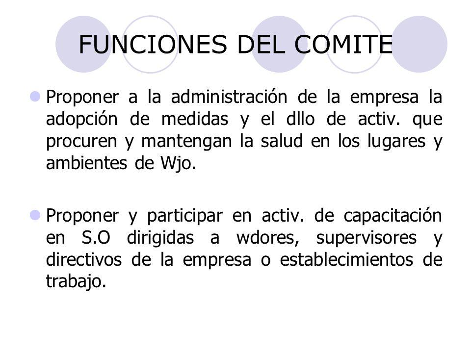 FUNCIONES DEL COMITE