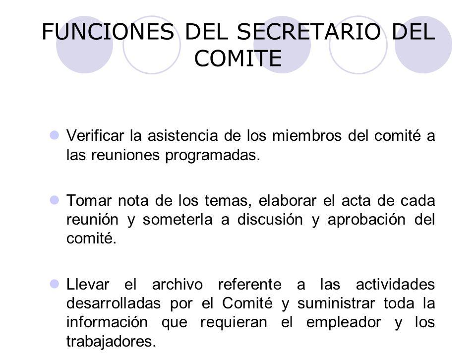 FUNCIONES DEL SECRETARIO DEL COMITE