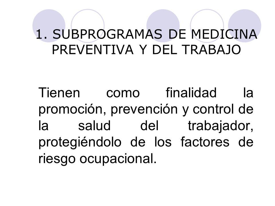1. SUBPROGRAMAS DE MEDICINA PREVENTIVA Y DEL TRABAJO