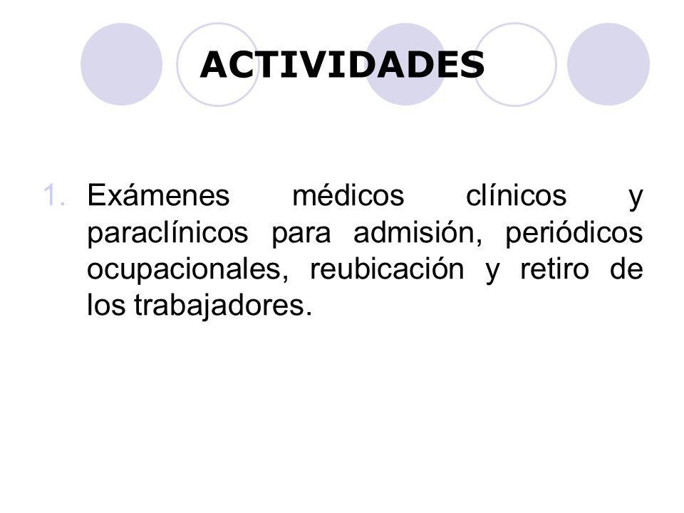 ACTIVIDADES Exámenes médicos clínicos y paraclínicos para admisión, periódicos ocupacionales, reubicación y retiro de los trabajadores.