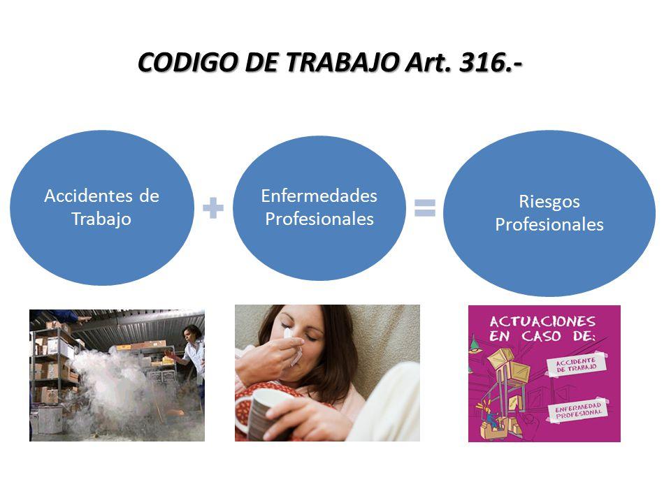 CODIGO DE TRABAJO Art. 316.- Accidentes de Trabajo