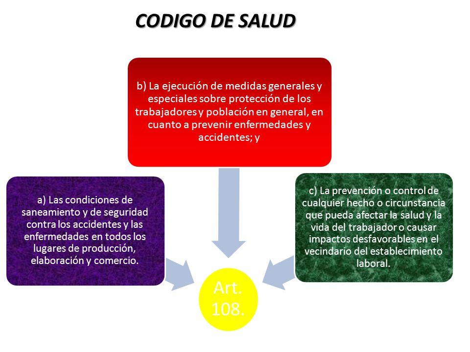 CODIGO DE SALUD Art. 108.