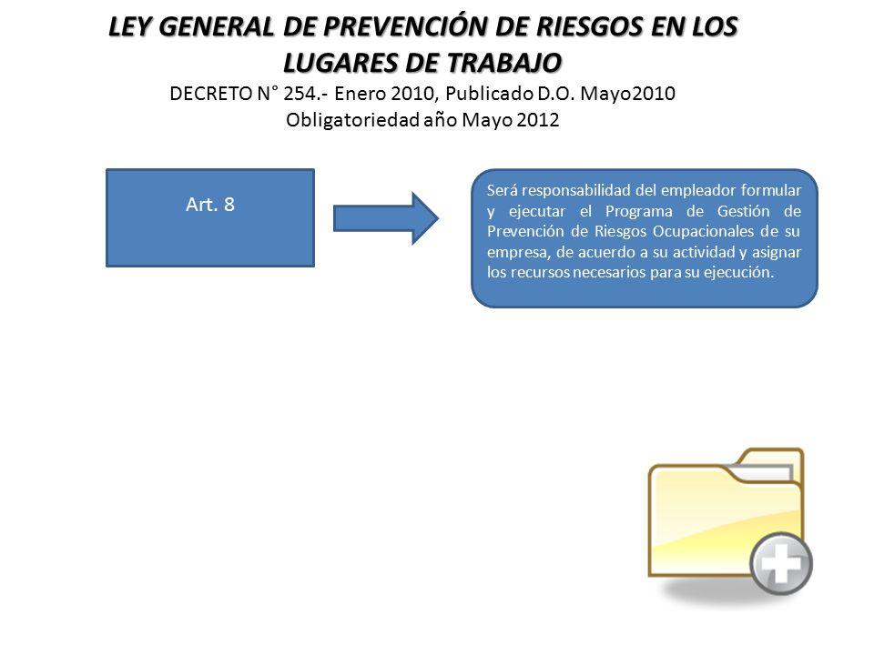 LEY GENERAL DE PREVENCIÓN DE RIESGOS EN LOS LUGARES DE TRABAJO DECRETO N° 254.- Enero 2010, Publicado D.O. Mayo2010 Obligatoriedad año Mayo 2012