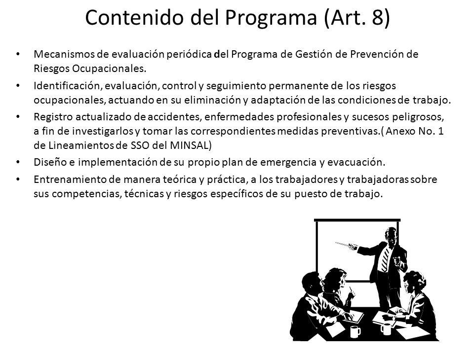 Contenido del Programa (Art. 8)