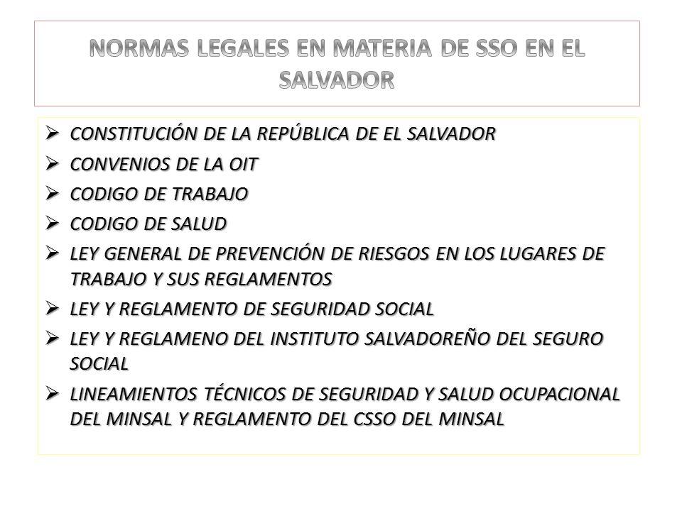 NORMAS LEGALES EN MATERIA DE SSO EN EL SALVADOR