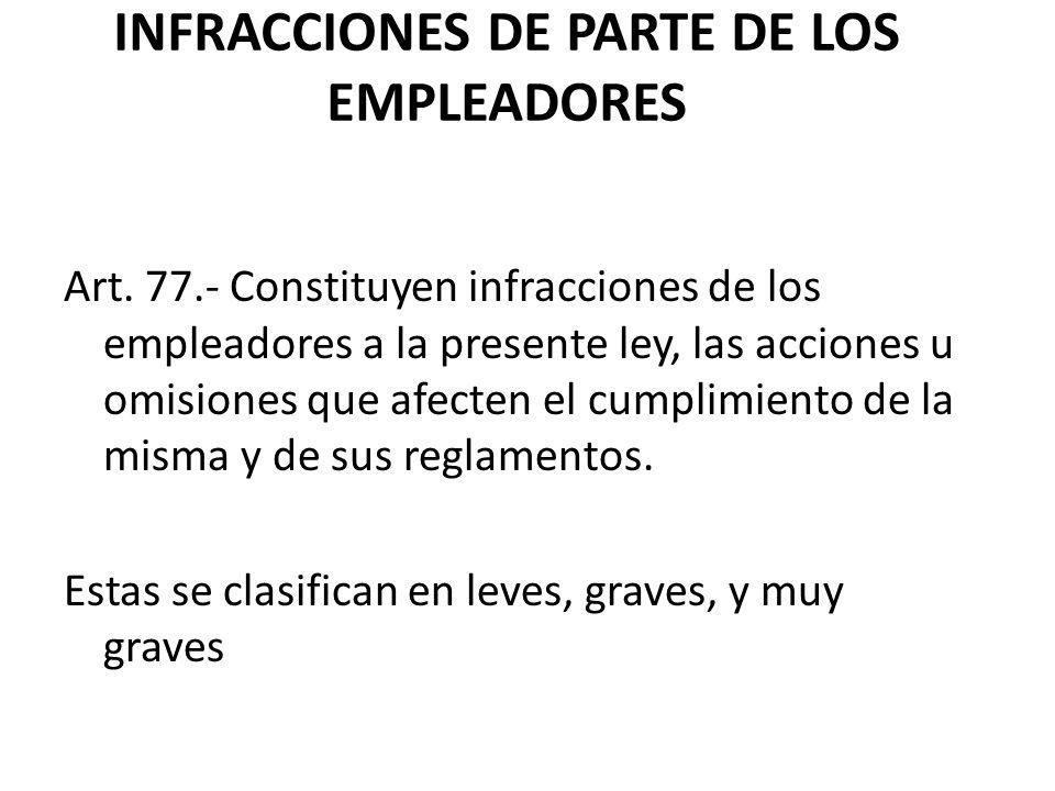 INFRACCIONES DE PARTE DE LOS EMPLEADORES