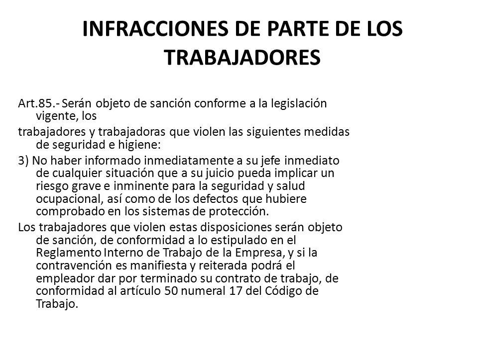 INFRACCIONES DE PARTE DE LOS TRABAJADORES