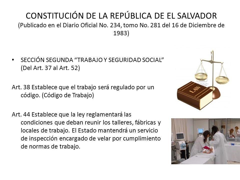 CONSTITUCIÓN DE LA REPÚBLICA DE EL SALVADOR (Publicado en el Diario Oficial No. 234, tomo No. 281 del 16 de Diciembre de 1983)