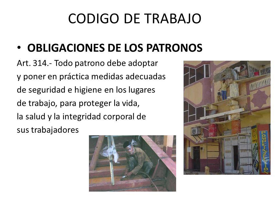 CODIGO DE TRABAJO OBLIGACIONES DE LOS PATRONOS
