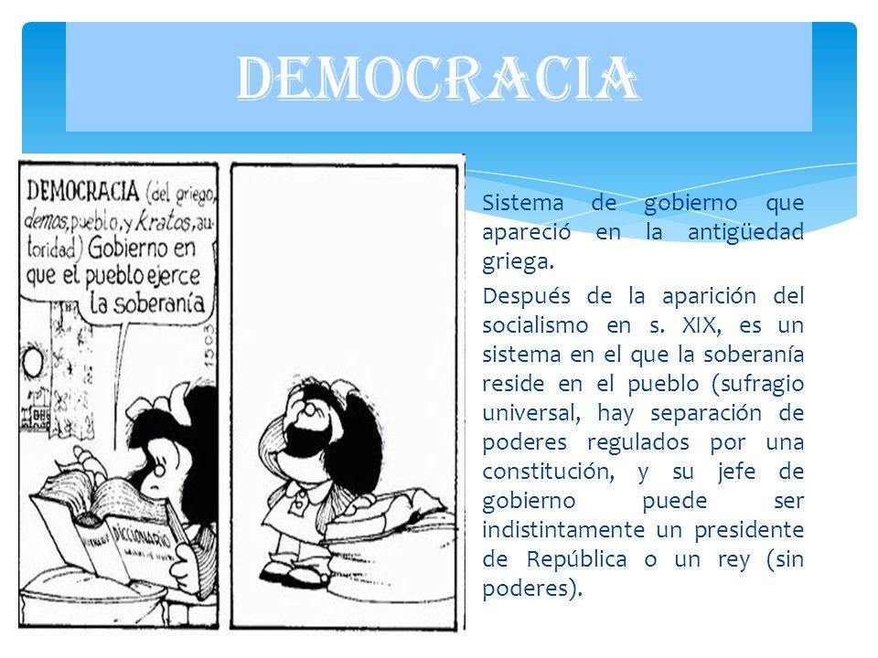 DEMOCRACIA Sistema de gobierno que apareció en la antigüedad griega.