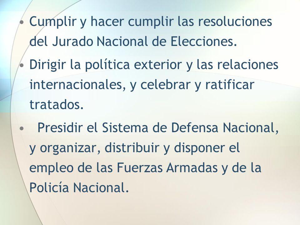 Cumplir y hacer cumplir las resoluciones del Jurado Nacional de Elecciones.
