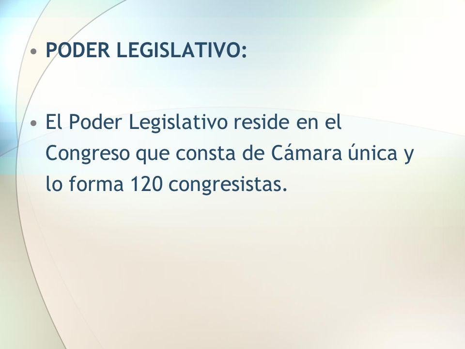 PODER LEGISLATIVO: El Poder Legislativo reside en el Congreso que consta de Cámara única y lo forma 120 congresistas.