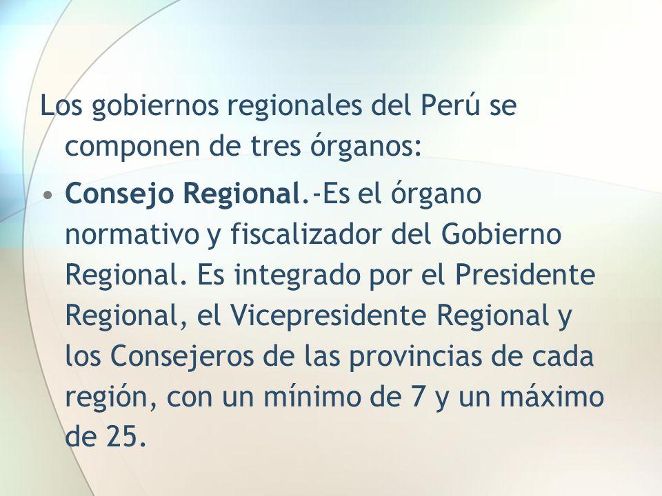 Los gobiernos regionales del Perú se componen de tres órganos: