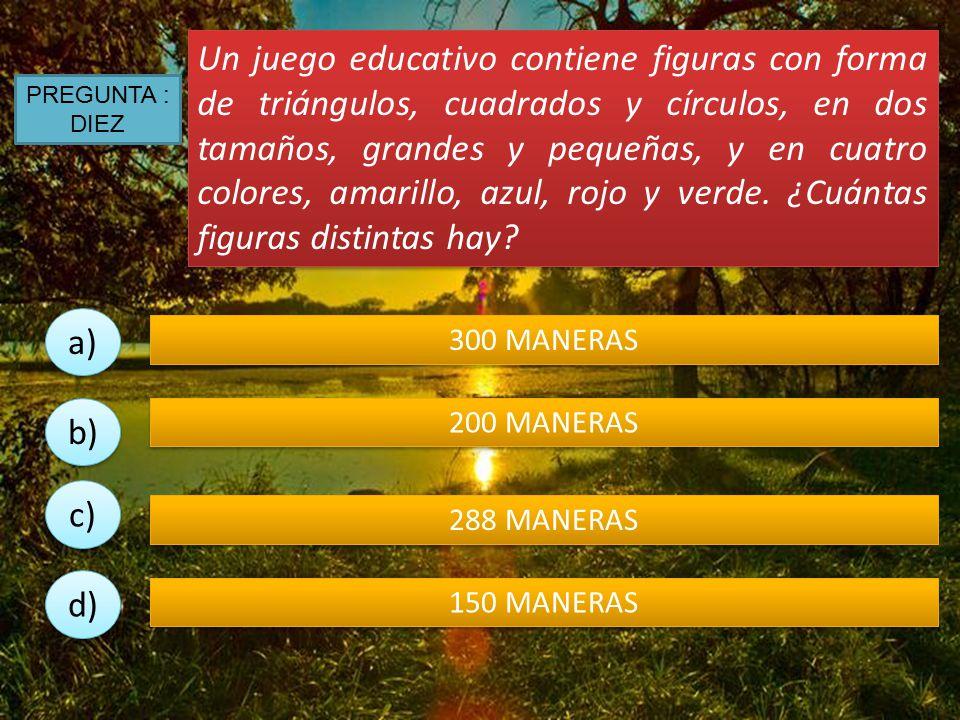 Un juego educativo contiene figuras con forma de triángulos, cuadrados y círculos, en dos tamaños, grandes y pequeñas, y en cuatro colores, amarillo, azul, rojo y verde. ¿Cuántas figuras distintas hay
