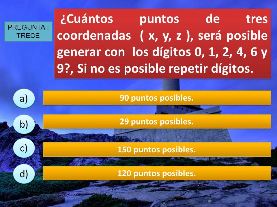 ¿Cuántos puntos de tres coordenadas ( x, y, z ), será posible generar con los dígitos 0, 1, 2, 4, 6 y 9 , Si no es posible repetir dígitos.