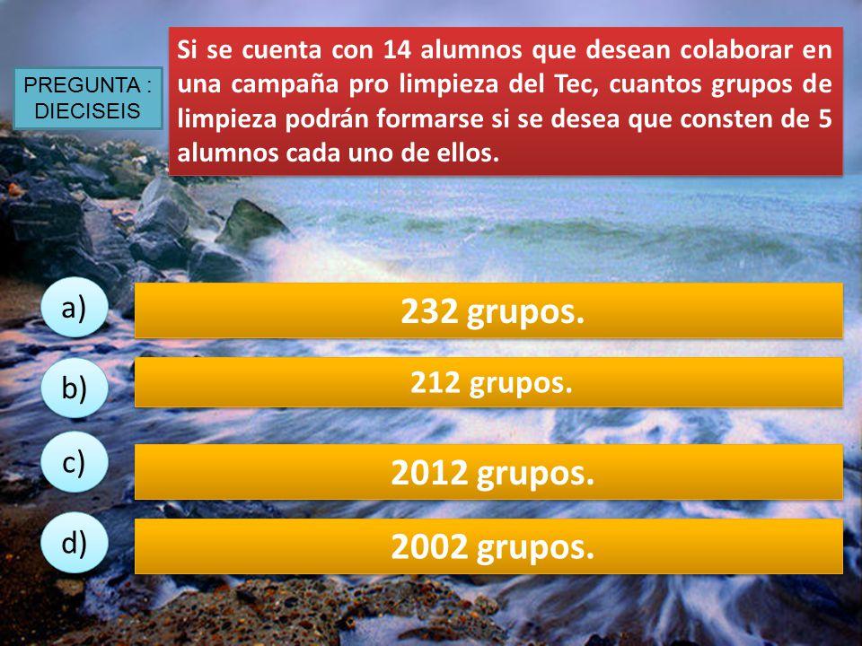 232 grupos. 2012 grupos. 2002 grupos. a) 212 grupos. b) c) d)