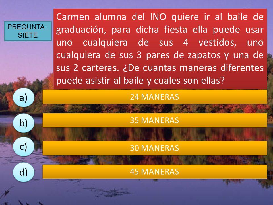 Carmen alumna del INO quiere ir al baile de graduación, para dicha fiesta ella puede usar uno cualquiera de sus 4 vestidos, uno cualquiera de sus 3 pares de zapatos y una de sus 2 carteras. ¿De cuantas maneras diferentes puede asistir al baile y cuales son ellas