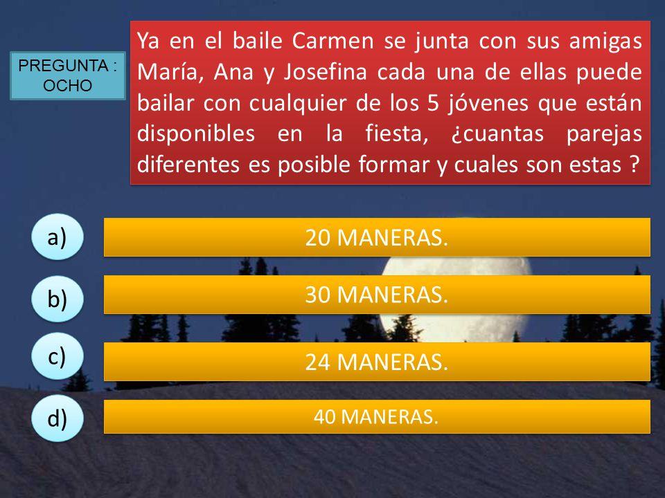Ya en el baile Carmen se junta con sus amigas María, Ana y Josefina cada una de ellas puede bailar con cualquier de los 5 jóvenes que están disponibles en la fiesta, ¿cuantas parejas diferentes es posible formar y cuales son estas