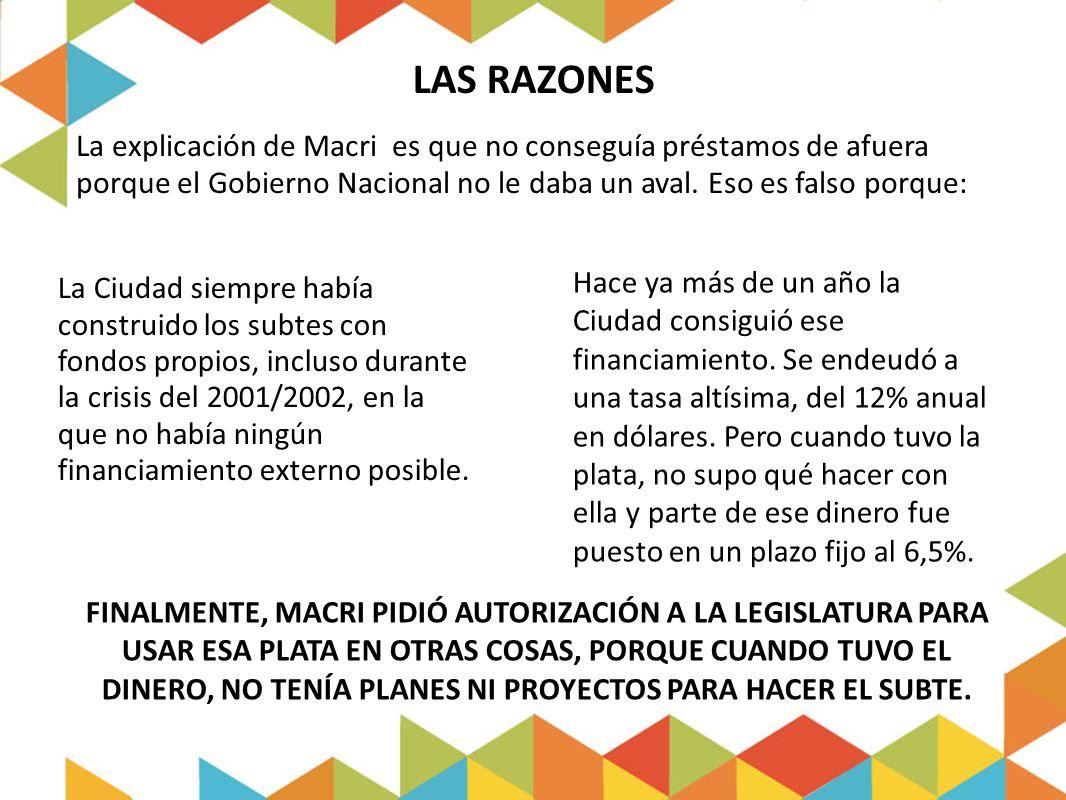 LAS RAZONES La explicación de Macri es que no conseguía préstamos de afuera porque el Gobierno Nacional no le daba un aval. Eso es falso porque:
