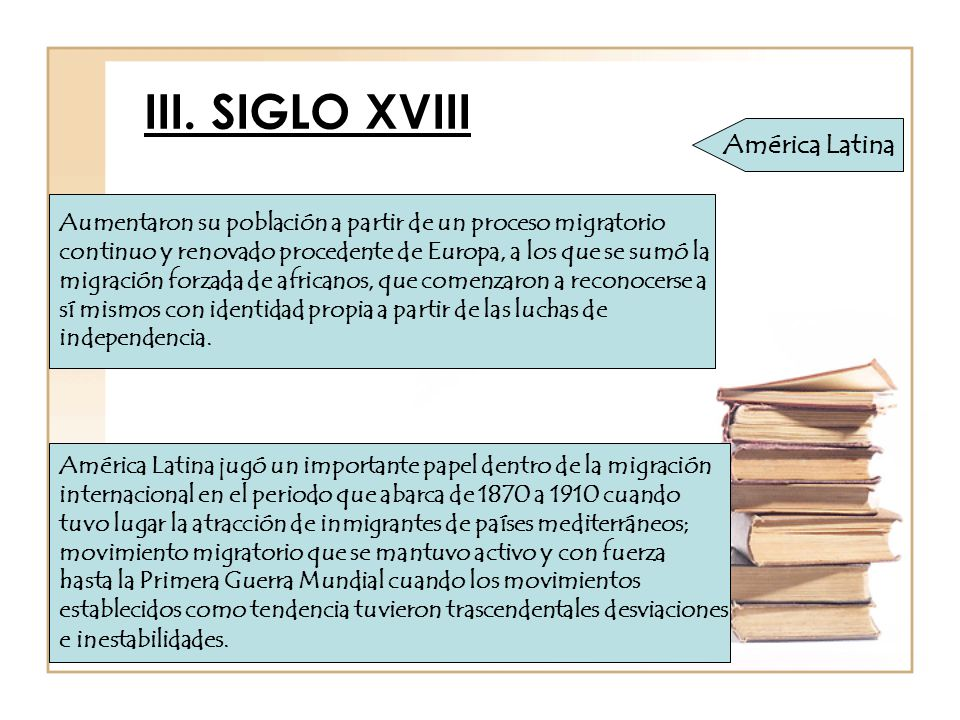 III. SIGLO XVIII América Latina