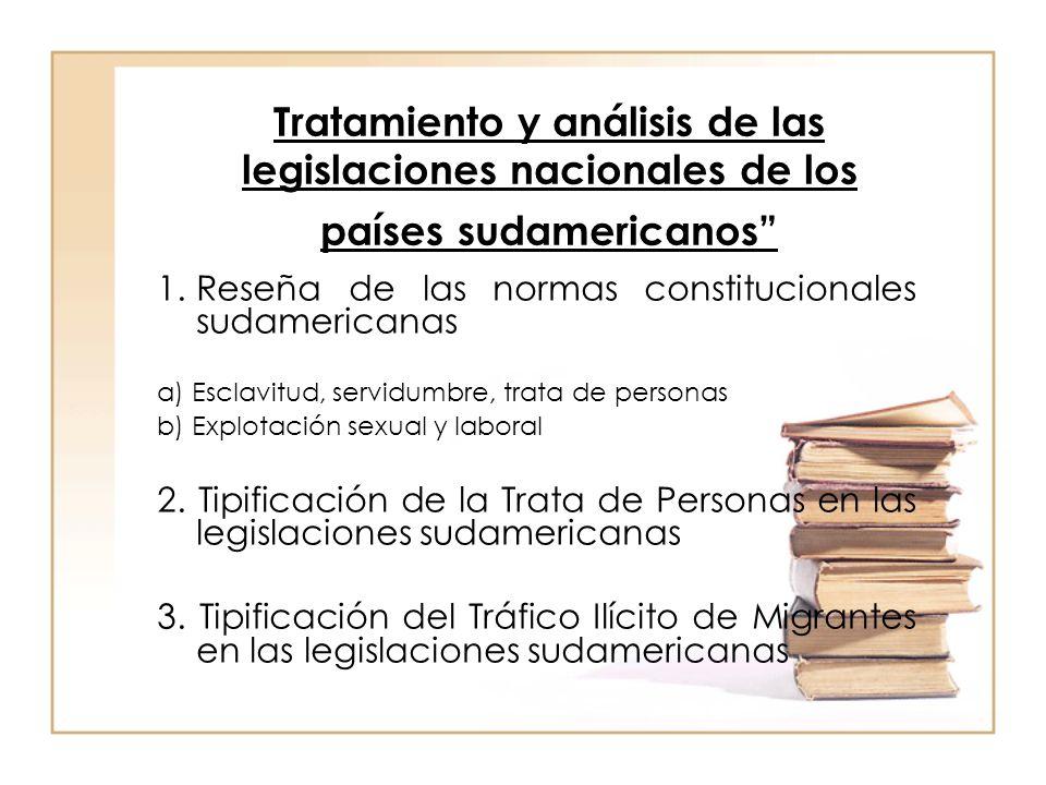 Tratamiento y análisis de las legislaciones nacionales de los países sudamericanos