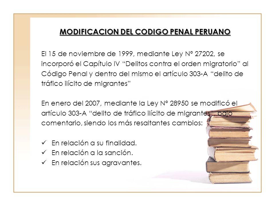 MODIFICACION DEL CODIGO PENAL PERUANO