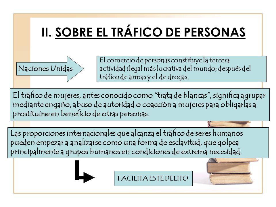 II. SOBRE EL TRÁFICO DE PERSONAS