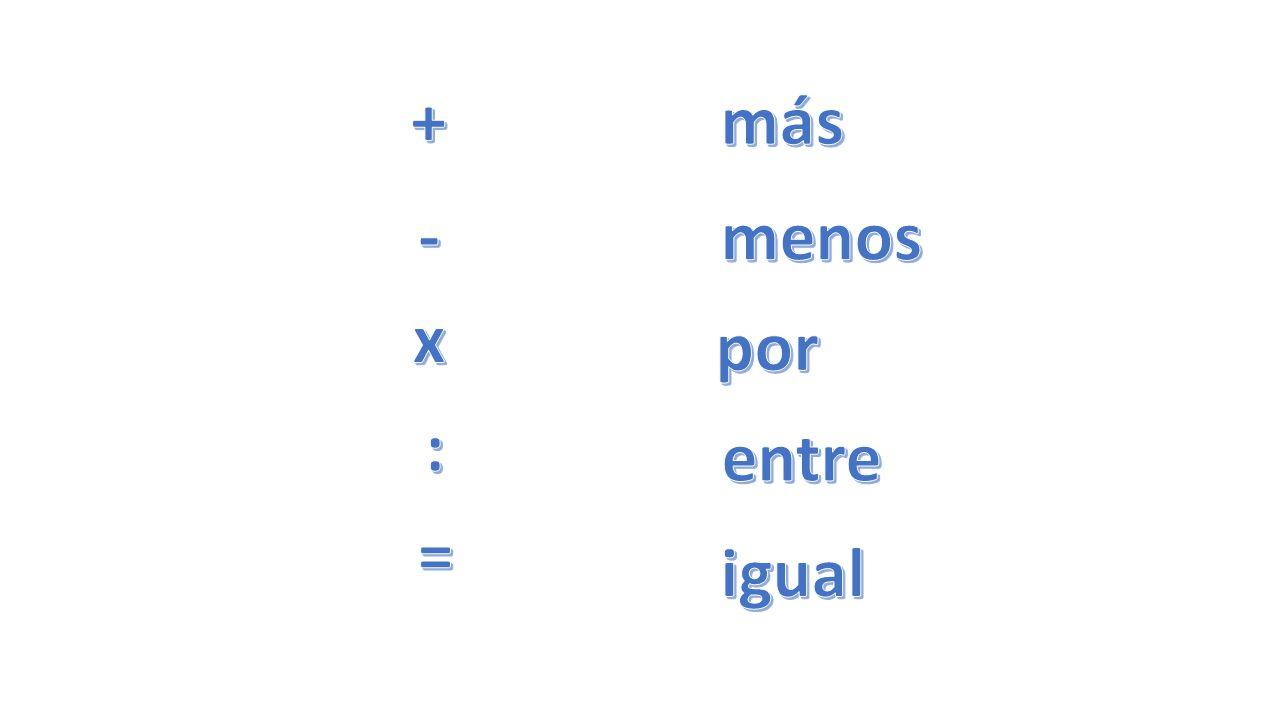 + más - menos x por : entre = igual