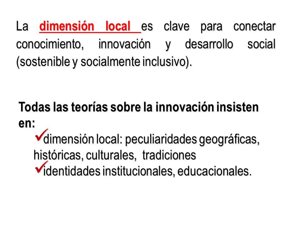 La dimensión local es clave para conectar conocimiento, innovación y desarrollo social (sostenible y socialmente inclusivo).