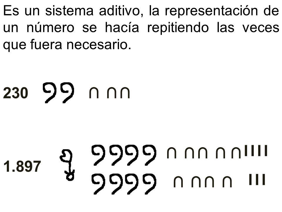 Es un sistema aditivo, la representación de un número se hacía repitiendo las veces que fuera necesario.