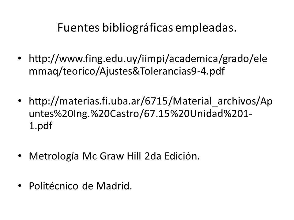 Fuentes bibliográficas empleadas.