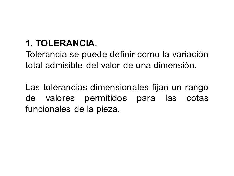 1. TOLERANCIA. Tolerancia se puede definir como la variación total admisible del valor de una dimensión.