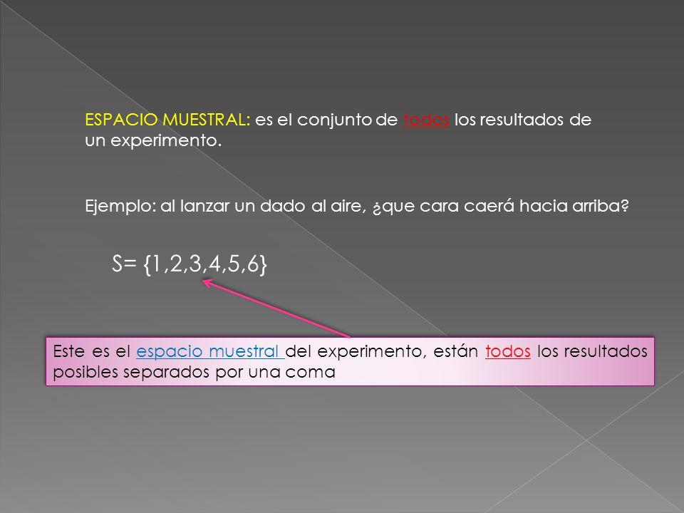 ESPACIO MUESTRAL: es el conjunto de todos los resultados de un experimento.