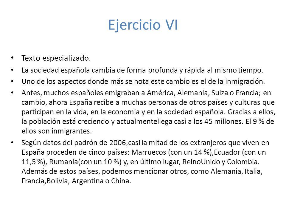 Ejercicio VI Texto especializado.
