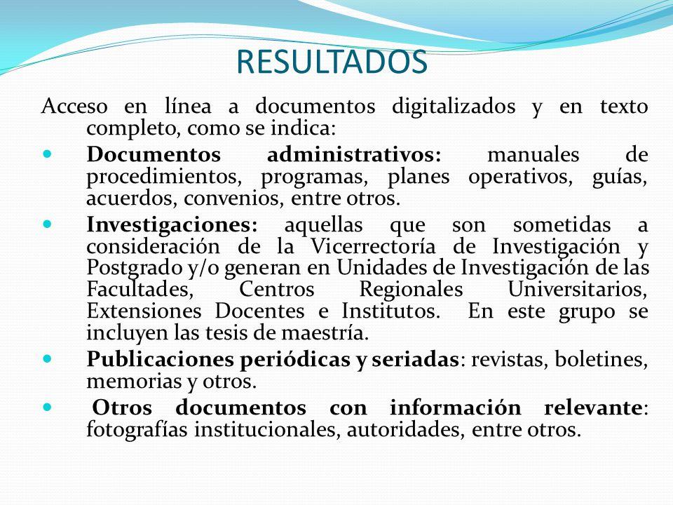RESULTADOS Acceso en línea a documentos digitalizados y en texto completo, como se indica: