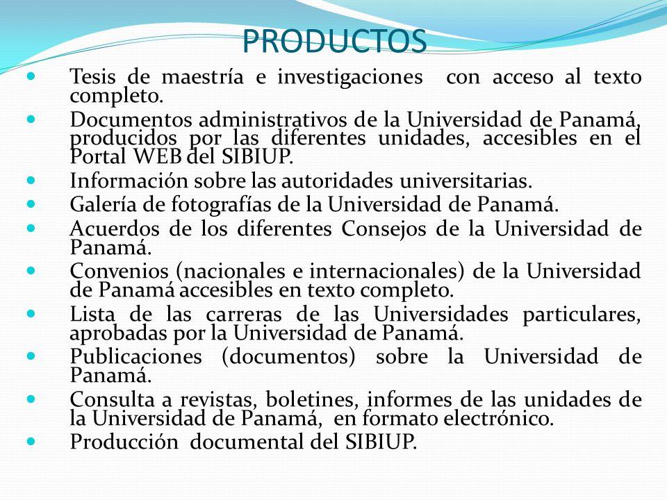 PRODUCTOS Tesis de maestría e investigaciones con acceso al texto completo.